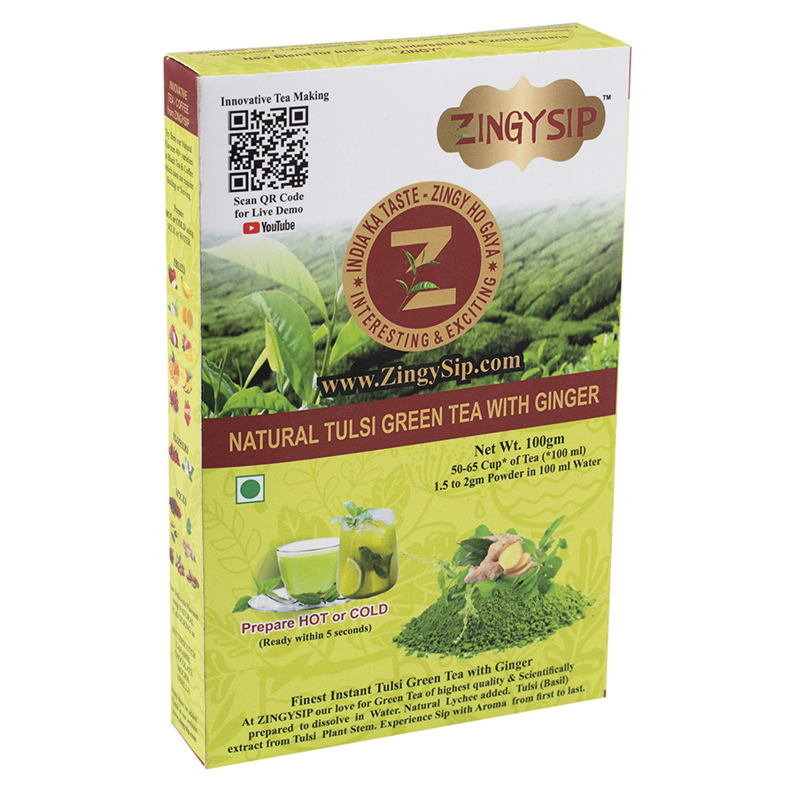 Green Tea  Natural Tlsi With Ginger- 100gm